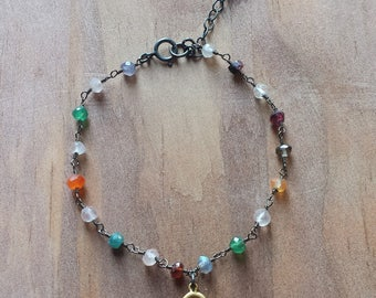 Multi Gemstone Rosary Bead and 18K Gold Dipped Buddha Charm Adjustable Oxidized Sterling Silver Chain Bracelet