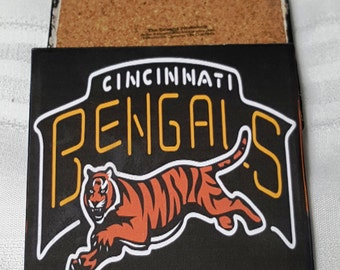 Cincinnati Bengals Ceramic Tile Drink Coasters / Set of 4