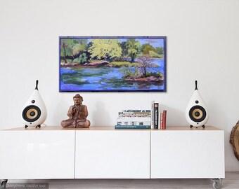 Mississippi River, Mantle Painting, Landscape Oil, Beaver Islands, St. Cloud, MN