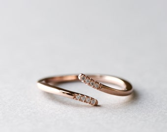 Rose Gold Plated Pinky Ring, Dainty Ring, 925 Sterling Silver Ring, Minimalist Ring, Rose Gold Ring, Gift For Her, Open Ring