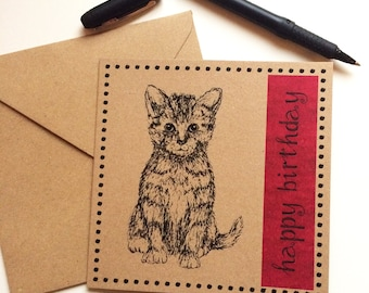 Cat Happy Birthday card, red pink kitten card,recycled brown kraft card, cat illustration greetings card, cat lover birthday card UK