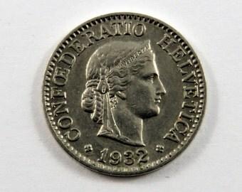 Switzerland 1932 B 10 Rappen Coin.