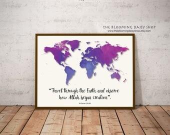 Islamic Wall Art-Islamic Prints- Muslim Travel Print-Islamic Travel map-Islamic map Print-Islamic Printable-travel-Explore-Muslim poster art