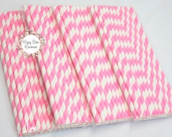 Pink Paper Straws, Pink Straws, Pack of 25, Striped Straws, Bulk Pink Straws, Baby Shower Decor, Pink Party Decor, Paper Party Straws