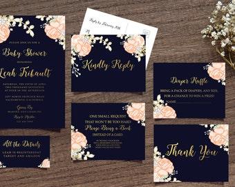 Navy Shower Invite, Floral Navy Invite, Boho Chic Invite, Handpainted Invite, Baby Shower Invite, Calligraphy Invite, Printable Invite