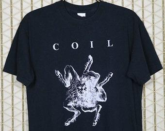 Coil t-shirt, vintage rare tee shirt, black, Wrong Eye 1990, Throbbing Gristle, Psychic TV, Genesis P-Orridge