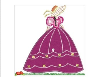 APPLIQUE SOUTHERN belle machine embroidery download 3 diff sizes ( 8x8  7x7  6x6)