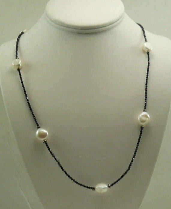 Freshwater Pearl, Black Spinel & Hematite Necklace with 14k White Gold Clasp