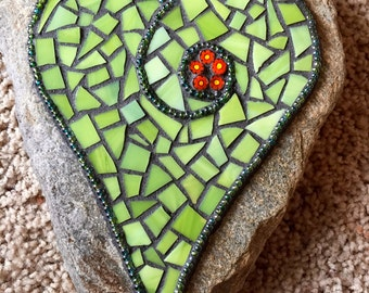 Lime Green Heart Mosaic Garden Stone Handcrafted Stained Glass