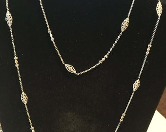 "Vintage Sterling Silver Filigree Diamond 39"" Chain/ Necklace - AB"