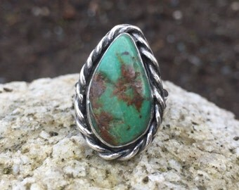 Turquoise Ring, Size 5 3/4 , Statement Ring, December Birthstone, Rustic, Boho, Gypsy, Earthy, Natural