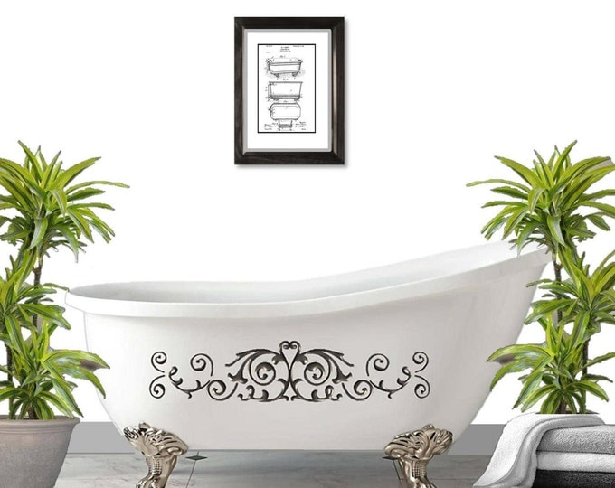 Bathtub Patent Print, Matted and Framed or Just Matted and Ready for Your Frame