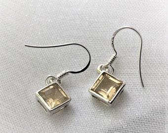 Gorgeous Citrine Gemstone Drop Silver Earrings