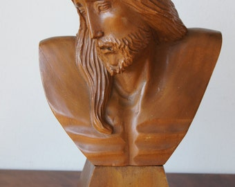 Antique Jesus Christ Carved Wooden Devotional Holy Father