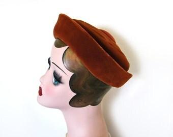 Sale!~ Vintage 1960's Velvet Hat/Satin, Cinnamon~ Doria Made Expressly for Rikes