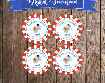Printable Favor Tags - Circus Theme Baby Shower Thanks for Showering Favor Tags - Peanut Favors - Baby Shower Favor Tags - Circus