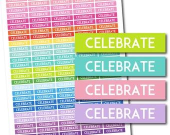 Celebrate stickers, Celebrate planner stickers, Celebrate printable stickers, Celebrate weekly stickers, Celebrate monthly stickers, STI-684