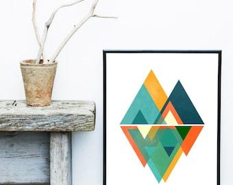 Scandinavian Art, Mid Century Modern, Art Print, Abstract Art Print, Giclee print, Wall Art,  Poster, Wall Decor