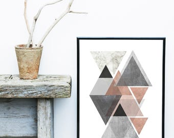 Wall Decor, Geometric Art Print, Scandinavian Design,  Abstract Art Print, Triangle Print, Home Decor, Wall Decor, Wall Art, Poster