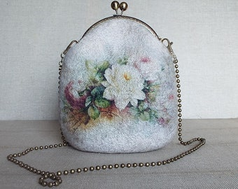 Wool felted purse bag, Wool felt hand bag, Clutch Bag, Vintage