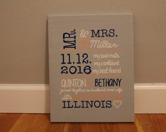 "Personalized Wedding Announcement Canvas/ 11""x14"""