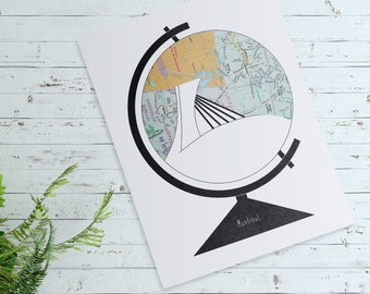 Greeting Card, Wishcard 8.5x5.5'' Montreal Olympic Stadium Illustration. Globe, Minimalist, Graphic Design