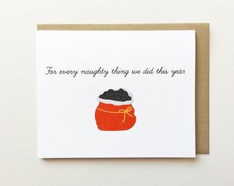 Best friend Christmas card, Cheeky Christmas card, Naughty Christmas card, Boyfriend Christmas card, Girlfriend Christmas card, Coal card