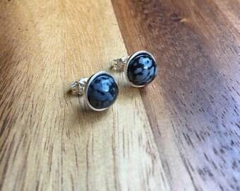 Sterling Silver Snowflake Obsidian Earrings Snowflake Obsidian Studs Snowflake Obsidian Jewellery Womens Earrings Womens Jewellery STSE14