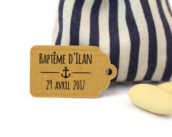 10 labels 2.4 x 4 cm, ground anchor Marine, for your baptism dragees