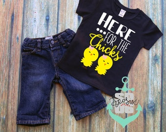Easter Shirt Boy, chicks Shirt, Boy Easter Outfit,Kids Easter Shirts ,Toddler Boys Easter Outfit, Toddler Easter Shirt,here for the chicks