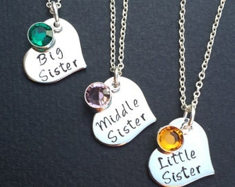 3 sisters necklace - Set of 3 Necklaces with birthstones - Heart Necklace Set - Sisters Necklace Set - big sister, middle sister, little sis