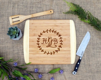 Monogram in Wreath Cutting Board, Personalized Cutting Board, Custom, Cheese Board, Gift for Her, Kitchen Decor, Present, Our Board Boutique