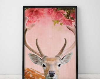 Girls Room Decor Reindeer Print Girls Room Wall Decor Nursery Wall Art Fawn Nursery Decor Fawn Print Woodland Wall Art Woodland Animal Fawn