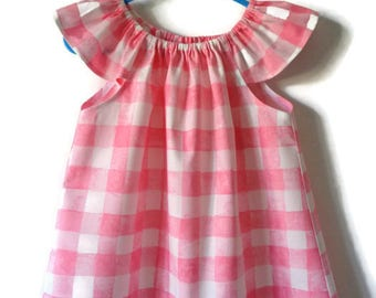 Girls top, Check top, pink top, flutter sleeve top, toddler clothing, girls clothing, girls fashion, summer clothing, gingham top