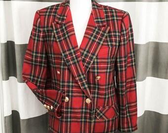 Wool blazer - Vintage tartan blazer - Red plaid wool blazer - Wool blazer size 6 - Classic red wool jacket - Pure wool blazer