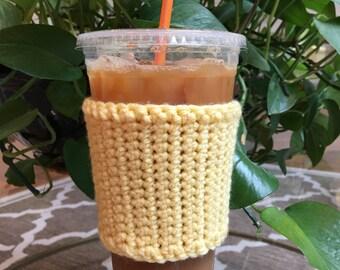 Crochet Coffee Sleeve in Light Yellow - Crochet Coffee Cozy - Coffee Cozy - Coffee Gift - Coffee Cup Cozy - Reusable Coffee Sleeve