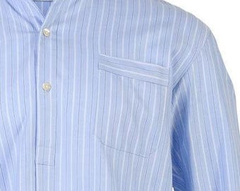 Blue stripe cotton nightshirt, shell buttons, shirt tail - all mens sizes