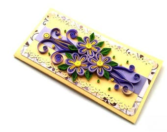 FREE SHIPPING/Quilling card/ Handmade card/ Mothers day / Purple card/ 3D card/ Quilling flowers/ Art card/ Birthday quilling card