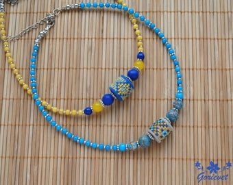 Choker necklace ethnic jewelry bead necklace gift for women hand embroidered jewelry aqua blue jewelry yellow blue gemstone necklace for her