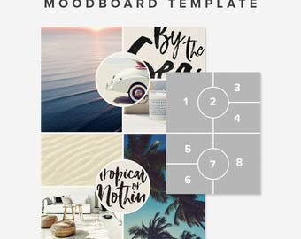 Moodboard template | Photoshop Collage Template | Blogging Template | Pinterest Template Photo Collage Template Photo Layout | Blog Board