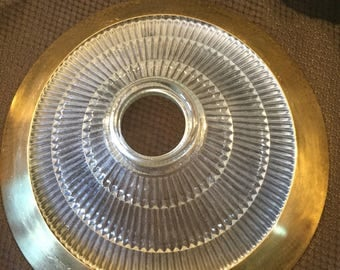 Ribbed Holophane Light Shade with Attached Gold Colored Rim