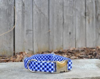 Preppy Blue and White Dog Collar