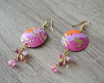 Embossati and hand-coated brass earrings with Swarovski crystals and semiprecious stones romantic sunset centerset (OOAK)