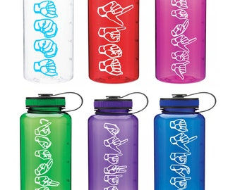 ASL sign language 34 oz water bottle names