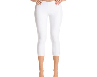 Capris - White Womens Leggings, Yoga Workout Pants, Mid Rise Waist Solid White Leggings
