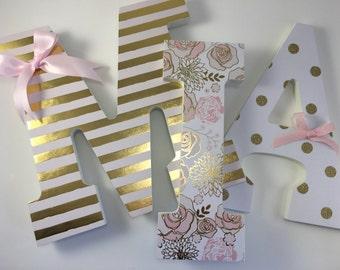 nursery letters, nursery letters girl, baby letters, letters for baby room, nursery wall letters,  white pink gold letters, gold nursery