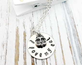 Hand Stamped, I Love my Cat, Silver Ncklace
