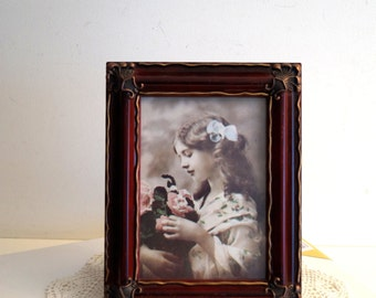 Vintage Photo or painting frame Standing or wall hanging photo picture frame Victorian style picture frame Red with gold decor picture frame