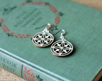 Modern Compass Rose Laser Cut Maple Wood and Metallic Evergreen Mineral Pigment Resin Earrings... Custom Available