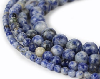 "Natural Sodalite Blue Spot Stone Beads 15.5"" strand Genuine 4mm 6mm 8mm 10mm"